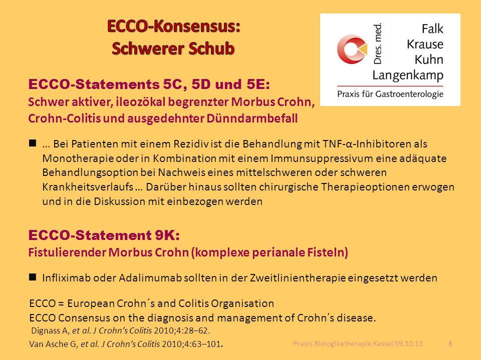 ECCO-Statements 5C, 5D und 5E: Schwer aktiver, ileozökal begrenzter Morbus Crohn, Crohn-Colitis und ausgedehnter Dünndarmbefall … Bei Patienten mit ei