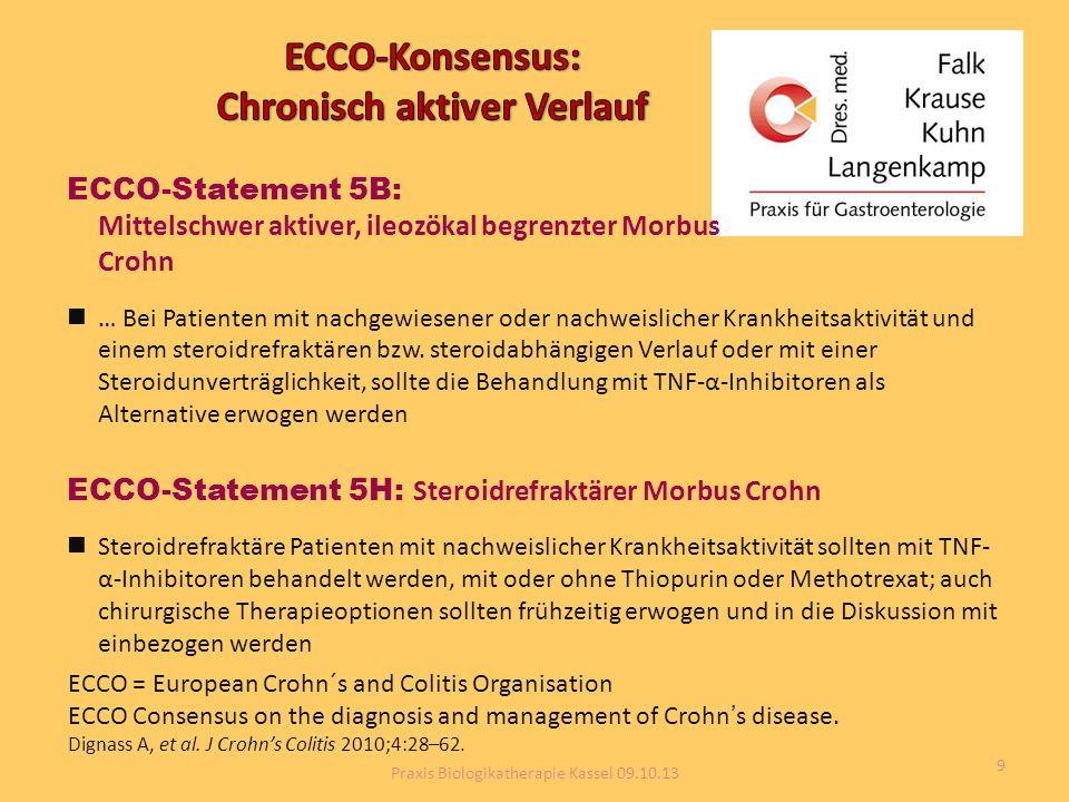 ECCO-Statement 5B: Mittelschwer aktiver, ileozökal begrenzter Morbus Crohn … Bei Patienten mit nachgewiesener oder nachweislicher Krankheitsaktivität