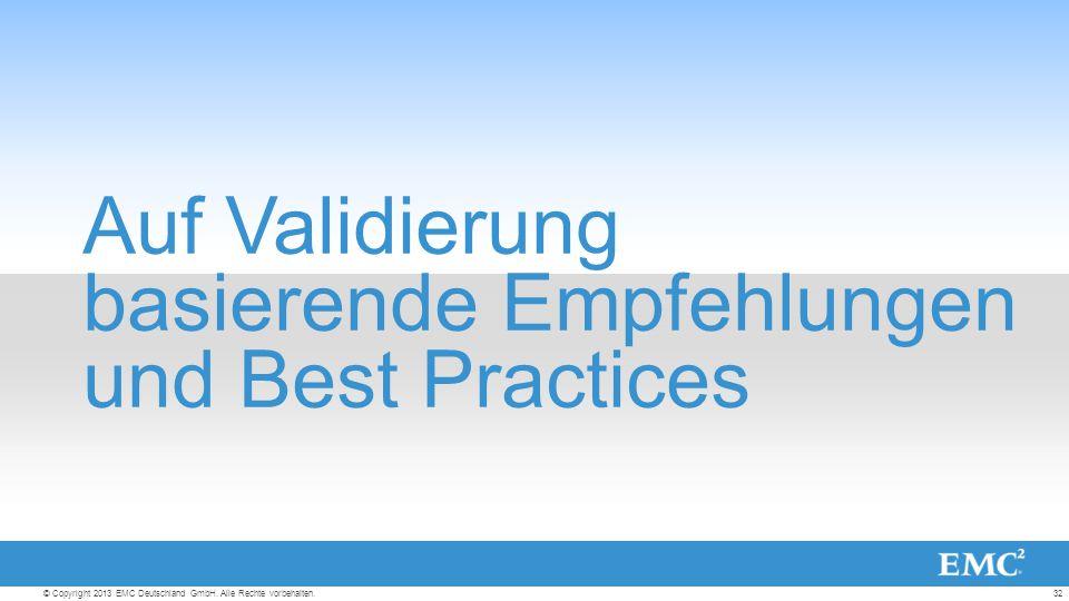 32© Copyright 2013 EMC Deutschland GmbH. Alle Rechte vorbehalten.