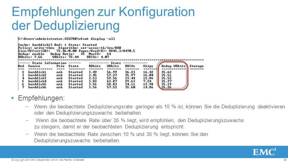 39© Copyright 2013 EMC Deutschland GmbH. Alle Rechte vorbehalten.