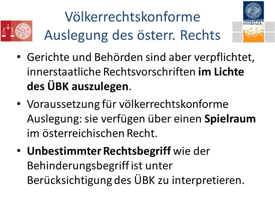 Völkerrechtskonforme Auslegung des österr.
