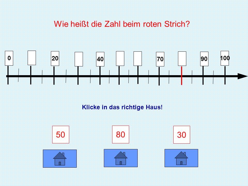 0 30 60 40 100 95 85 73 Wie heißt die Zahl beim roten Strich? Klicke in das richtige Haus!