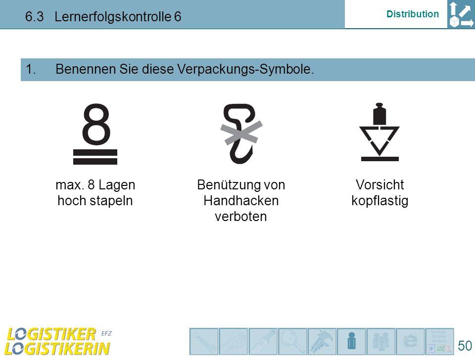 Distribution 6.3 Lernerfolgskontrolle 6 50 Benennen Sie diese Verpackungs-Symbole. 1. max. 8 Lagen hoch stapeln Benützung von Handhacken verboten Vors