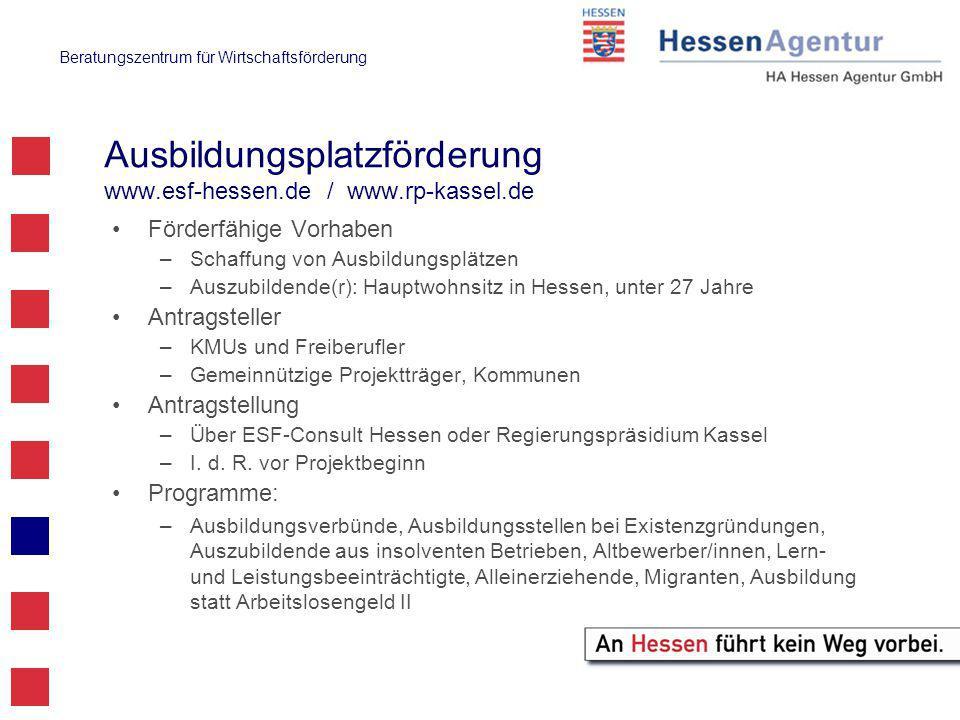Beratungszentrum für Wirtschaftsförderung Ausbildungsplatzförderung www.esf-hessen.de / www.rp-kassel.de Förderfähige Vorhaben –Schaffung von Ausbildungsplätzen –Auszubildende(r): Hauptwohnsitz in Hessen, unter 27 Jahre Antragsteller –KMUs und Freiberufler –Gemeinnützige Projektträger, Kommunen Antragstellung –Über ESF-Consult Hessen oder Regierungspräsidium Kassel –I.