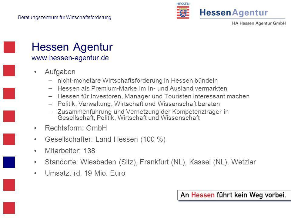 Beratungszentrum für Wirtschaftsförderung Ansprechpartner Wiesbaden:Christine Bischoff, Telefon: 0611 / 774 – 8253 christine.bischoff@hessen-agentur.de Ulrich Lohrmann, Telefon: 0611 / 774 – 8335 ulrich.lohrmann@hessen-agentur.de Wetzlar: Thomas Peter, Telefon: 06441 / 20 90 751 thomas.peter@hessen-agentur.de thomas.peter@hessen-agentur.de Kassel: Rainer Bong, Telefon: 0561 / 99 85 78 - 27 rainer.bong@hessen-agentur.de rainer.bong@hessen-agentur.de www.hessen-agentur.dewww.hessen-agentur.de / Beratungszentrum