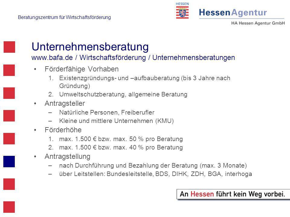 Beratungszentrum für Wirtschaftsförderung Gründercoaching Deutschland www.gruender-coaching-deutschland.de Förderfähige Vorhaben Coachingmaßnahmen für Unternehmen, deren Gründung nicht länger als 5 Jahre zurückliegt Antragsteller KMU, Freiberufler Förderhöhe max.