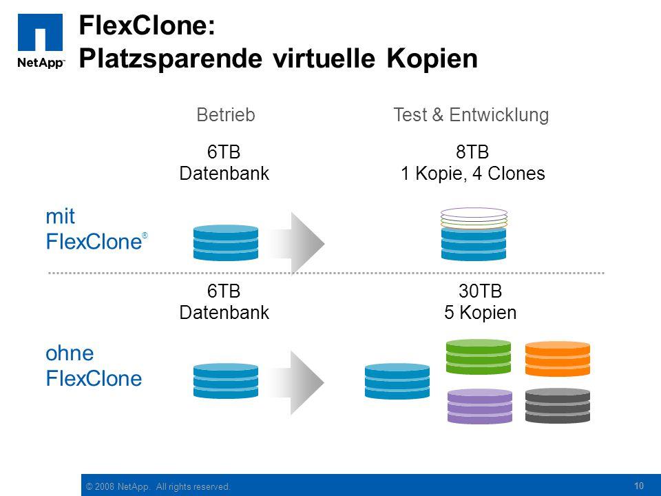 © 2008 NetApp. All rights reserved. 10 FlexClone: Platzsparende virtuelle Kopien BetriebTest & Entwicklung 6TB Datenbank mit FlexClone ® 8TB 1 Kopie,
