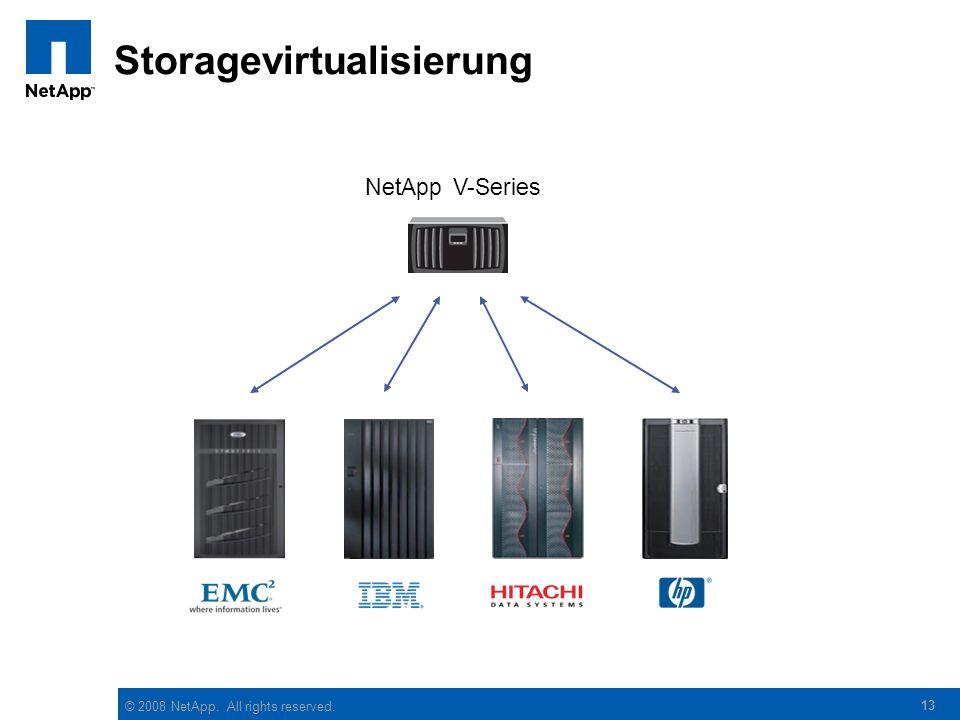 © 2008 NetApp. All rights reserved. 13 Storagevirtualisierung NetApp V-Series
