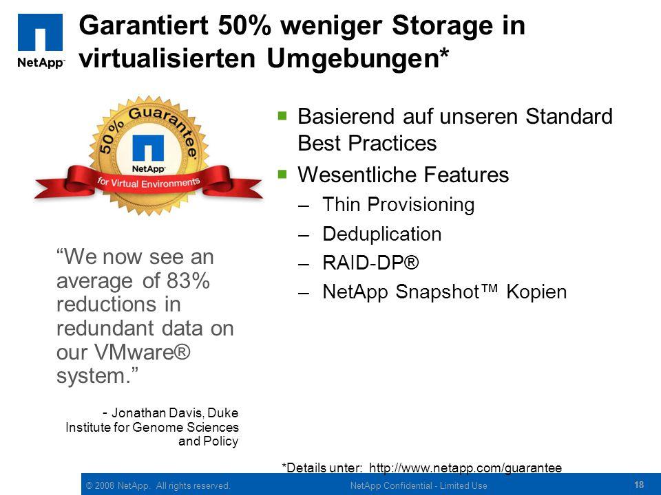 © 2008 NetApp. All rights reserved. 18 NetApp Confidential - Limited Use Garantiert 50% weniger Storage in virtualisierten Umgebungen*  Basierend auf