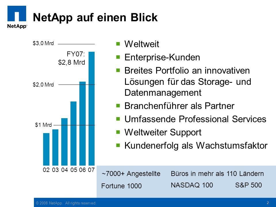 © 2008 NetApp. All rights reserved. 2 NetApp auf einen Blick  Weltweit  Enterprise-Kunden  Breites Portfolio an innovativen Lösungen für das Storag