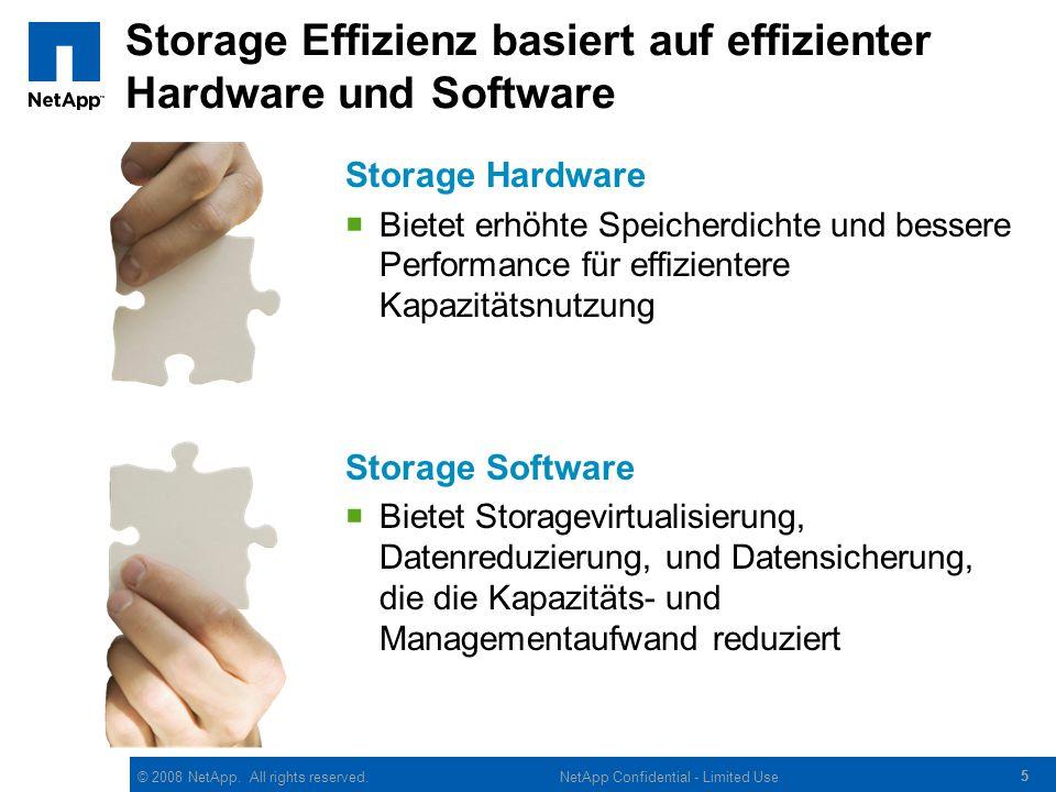 © 2008 NetApp. All rights reserved. 55 NetApp Confidential - Limited Use Storage Effizienz basiert auf effizienter Hardware und Software Storage Hardw