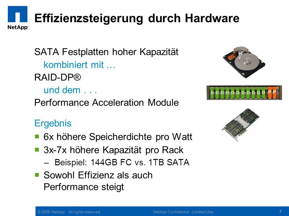 © 2008 NetApp. All rights reserved. 77 NetApp Confidential - Limited Use Effizienzsteigerung durch Hardware SATA Festplatten hoher Kapazität kombinier