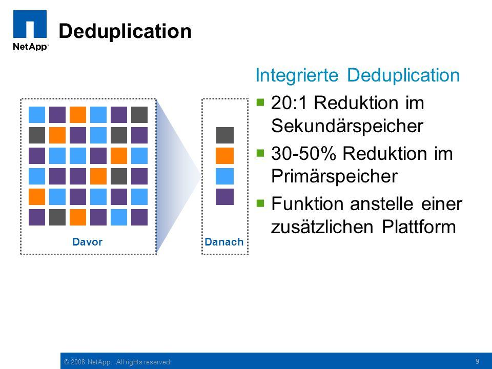 © 2008 NetApp. All rights reserved. 9 Deduplication Integrierte Deduplication  20:1 Reduktion im Sekundärspeicher  30-50% Reduktion im Primärspeiche
