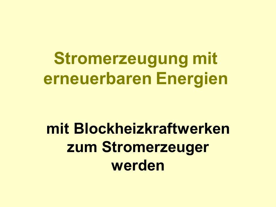 Stromerzeugung mit erneuerbaren Energien mit Blockheizkraftwerken zum Stromerzeuger werden