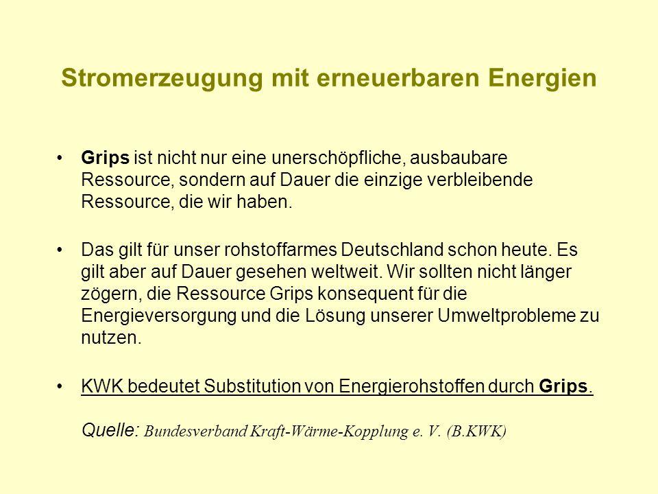 Stromerzeugung mit erneuerbaren Energien Grips ist nicht nur eine unerschöpfliche, ausbaubare Ressource, sondern auf Dauer die einzige verbleibende Re