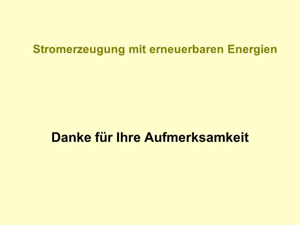 Stromerzeugung mit erneuerbaren Energien Danke für Ihre Aufmerksamkeit