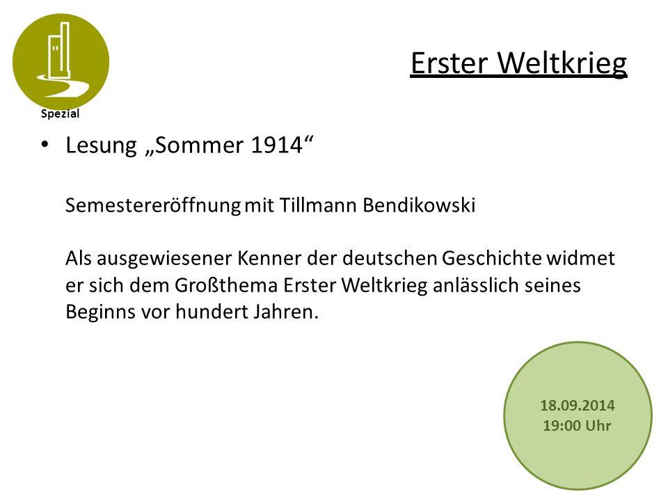Spezial Erster Weltkrieg Frauen im Ersten Weltkrieg Tillmann Bendikowski liest aus: Sommer 1914 Der Autor macht sich auf die Suche nach den vielschichtigen Erwartungen und Empfindungen, mit denen Menschen damals auf Kriegsgefahr und Kriegsausbruch reagierten.
