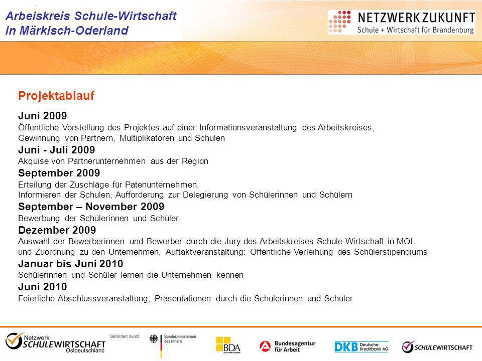 Arbeiskreis Schule-Wirtschaft in Märkisch-Oderland Projektablauf Juni 2009 Öffentliche Vorstellung des Projektes auf einer Informationsveranstaltung d