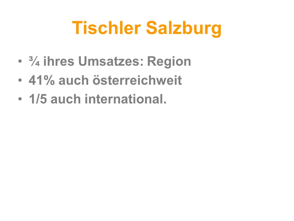 Tischler Salzburg ¾ ihres Umsatzes: Region 41% auch österreichweit 1/5 auch international.