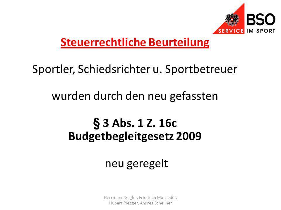 Steuerrechtliche Beurteilung Sportler, Schiedsrichter u.