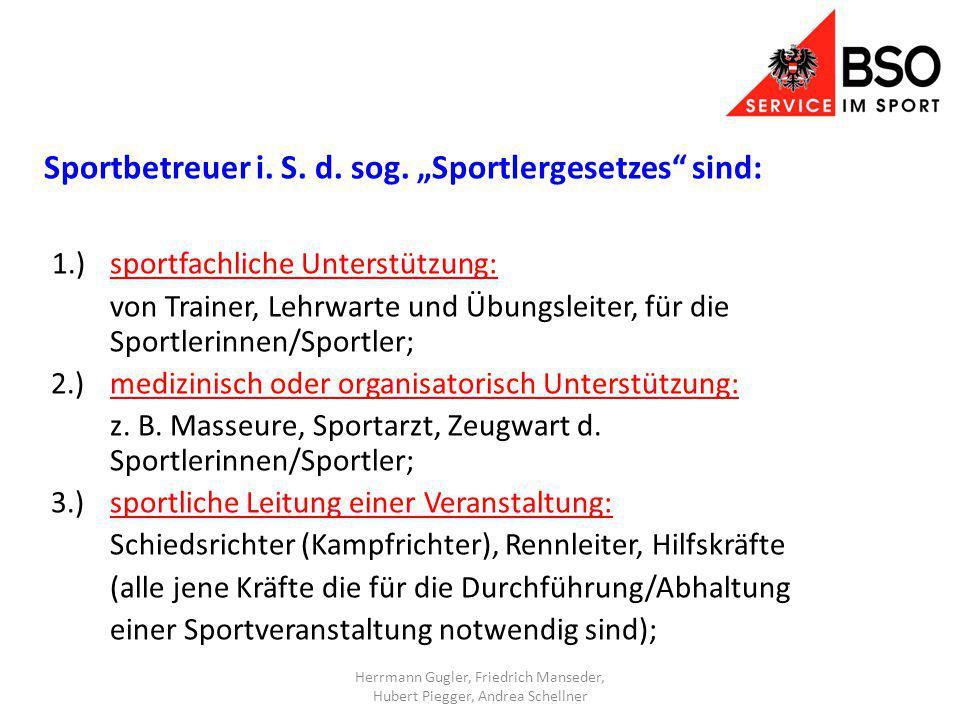 Sportbetreuer i. S. d. sog.