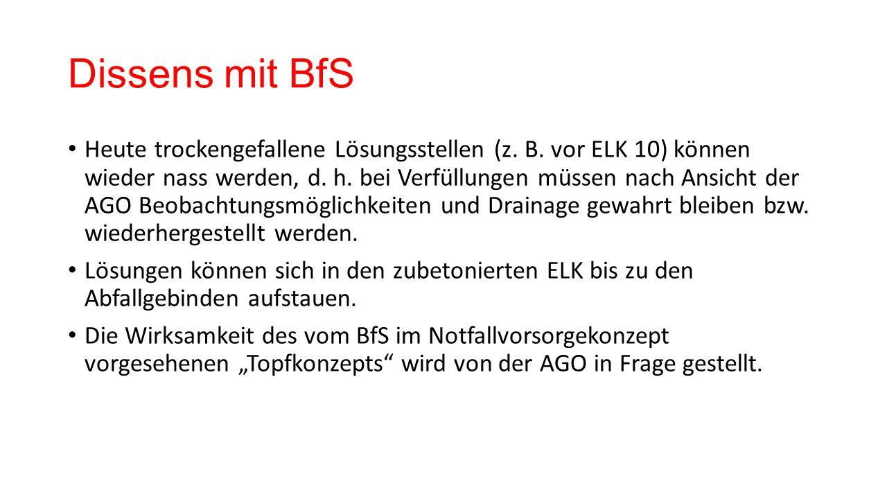 Dissens mit BfS Heute trockengefallene Lösungsstellen (z.
