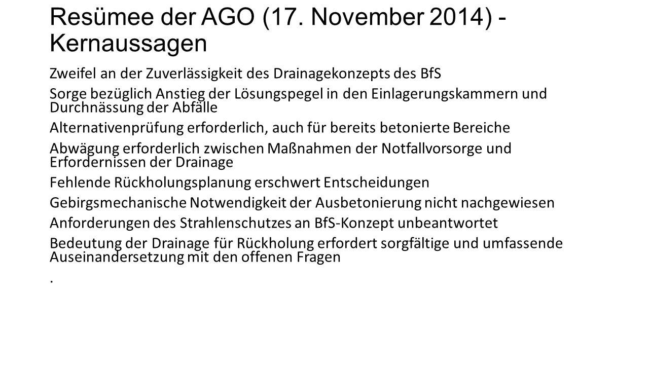 Resümee der AGO (17.