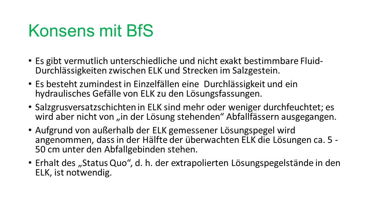 Konsens mit BfS Es gibt vermutlich unterschiedliche und nicht exakt bestimmbare Fluid- Durchlässigkeiten zwischen ELK und Strecken im Salzgestein.