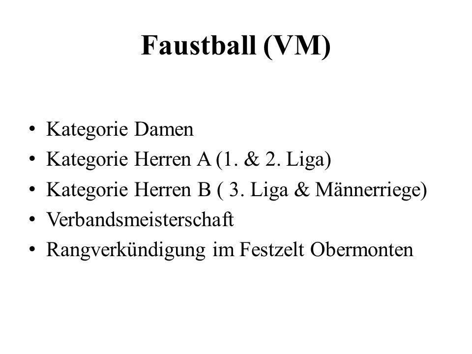 Faustball (VM) Kategorie Damen Kategorie Herren A (1. & 2. Liga) Kategorie Herren B ( 3. Liga & Männerriege) Verbandsmeisterschaft Rangverkündigung im