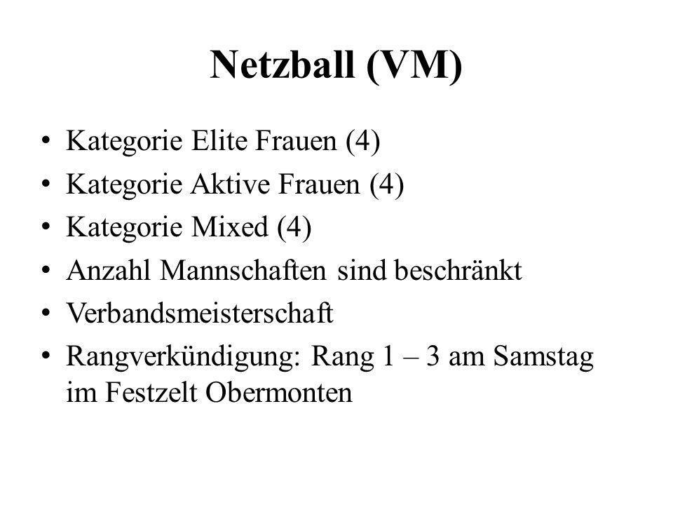Netzball (VM) Kategorie Elite Frauen (4) Kategorie Aktive Frauen (4) Kategorie Mixed (4) Anzahl Mannschaften sind beschränkt Verbandsmeisterschaft Ran