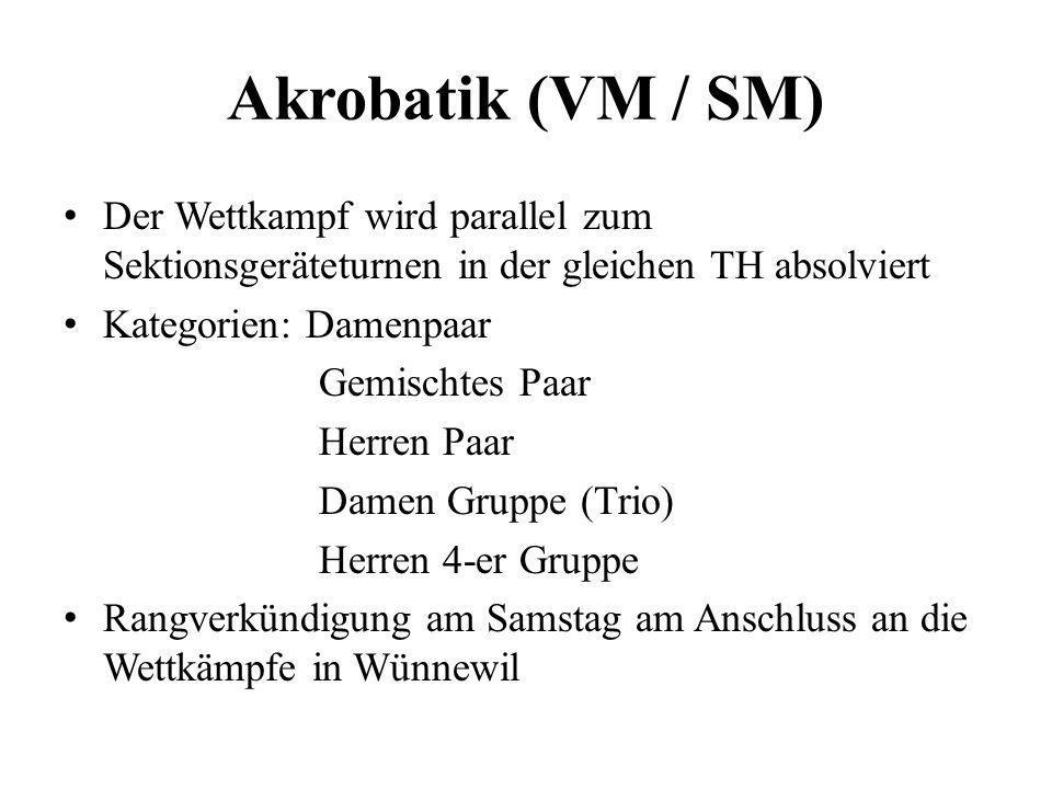 Akrobatik (VM / SM) Der Wettkampf wird parallel zum Sektionsgeräteturnen in der gleichen TH absolviert Kategorien: Damenpaar Gemischtes Paar Herren Pa