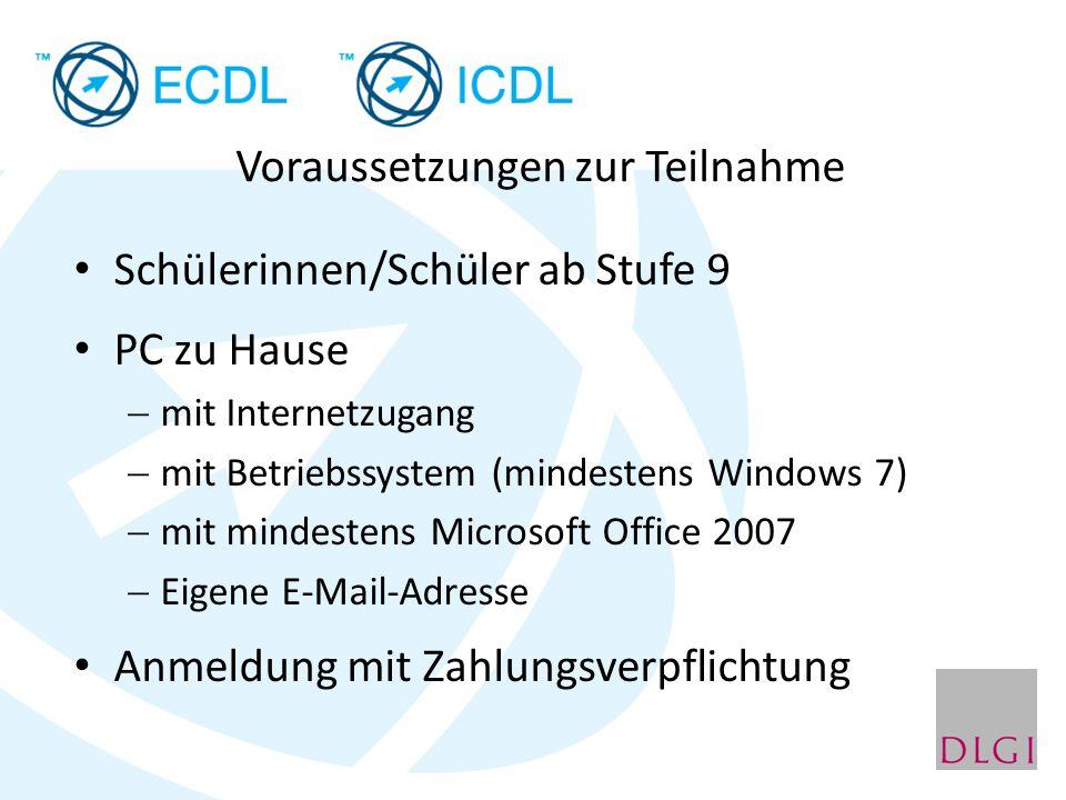 Schülerinnen/Schüler ab Stufe 9 PC zu Hause  mit Internetzugang  mit Betriebssystem (mindestens Windows 7)  mit mindestens Microsoft Office 2007 