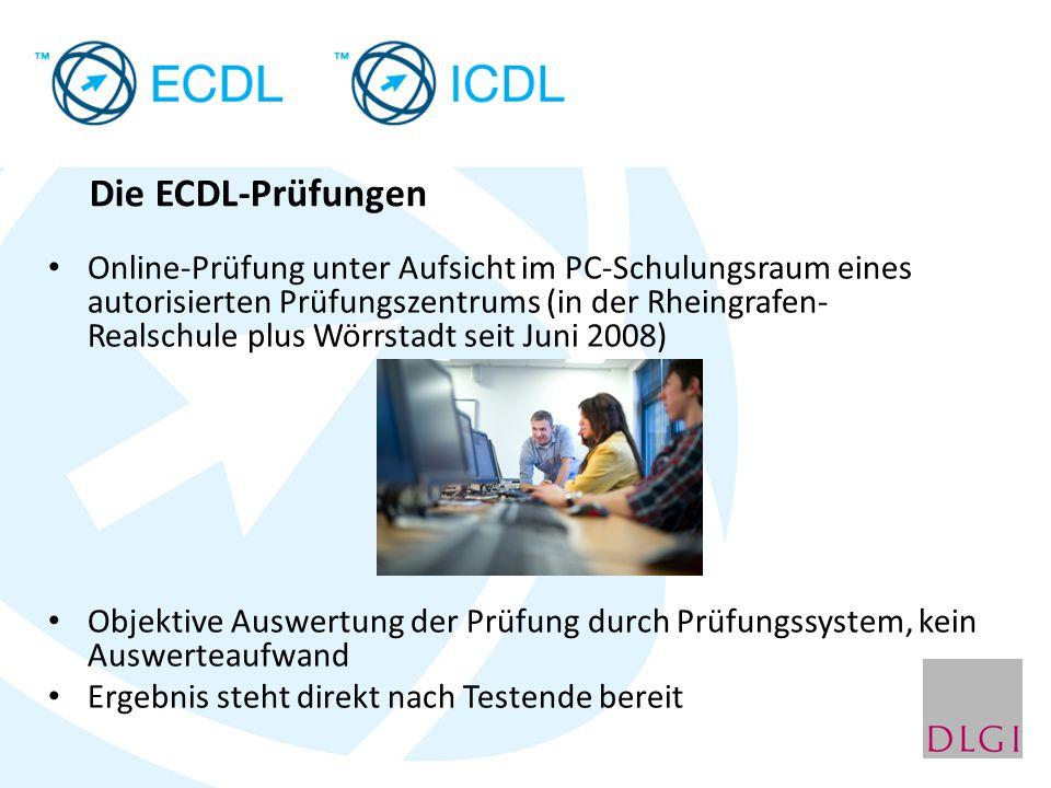 Die ECDL-Prüfungen Online-Prüfung unter Aufsicht im PC-Schulungsraum eines autorisierten Prüfungszentrums (in der Rheingrafen- Realschule plus Wörrsta