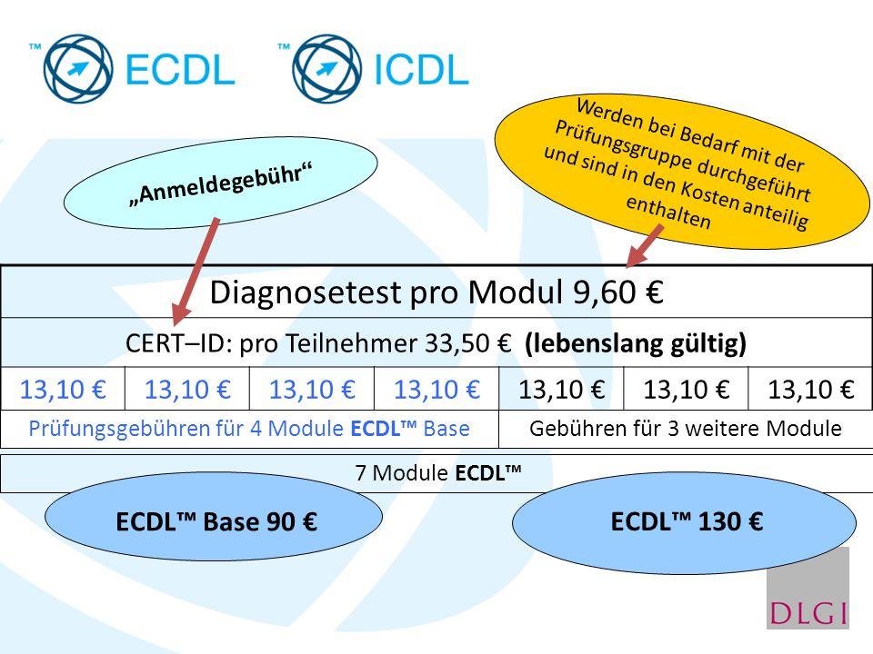 "Diagnosetest pro Modul 9,60 € CERT–ID: pro Teilnehmer 33,50 € (lebenslang gültig) 13,10 € ""Anmeldegebühr"" Prüfungsgebühren für 4 Module ECDL™ Base 7 M"