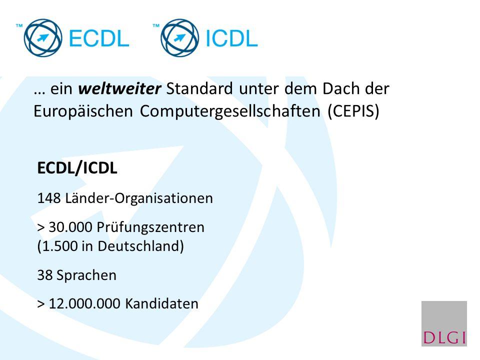 … ein weltweiter Standard unter dem Dach der Europäischen Computergesellschaften (CEPIS) ECDL/ICDL 148 Länder-Organisationen > 30.000 Prüfungszentren