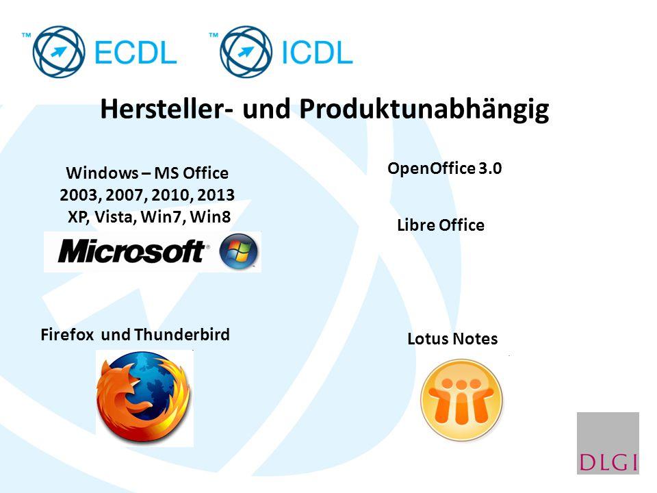 Hersteller- und Produktunabhängig Windows – MS Office 2003, 2007, 2010, 2013 XP, Vista, Win7, Win8 OpenOffice 3.0 Firefox und Thunderbird Lotus Notes