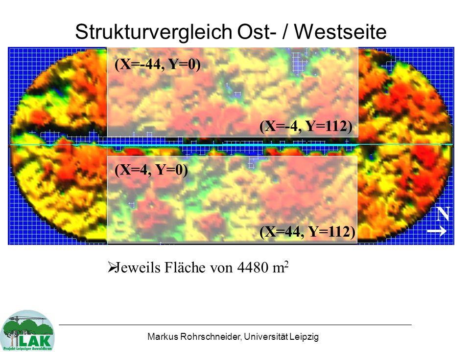 Markus Rohrschneider, Universität Leipzig Strukturvergleich Ost- / Westseite N (X=-44, Y=0) (X=-4, Y=112) (X=4, Y=0) (X=44, Y=112)  Jeweils Fläche von 4480 m 2