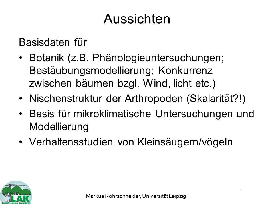 Markus Rohrschneider, Universität Leipzig Aussichten Basisdaten für Botanik (z.B.