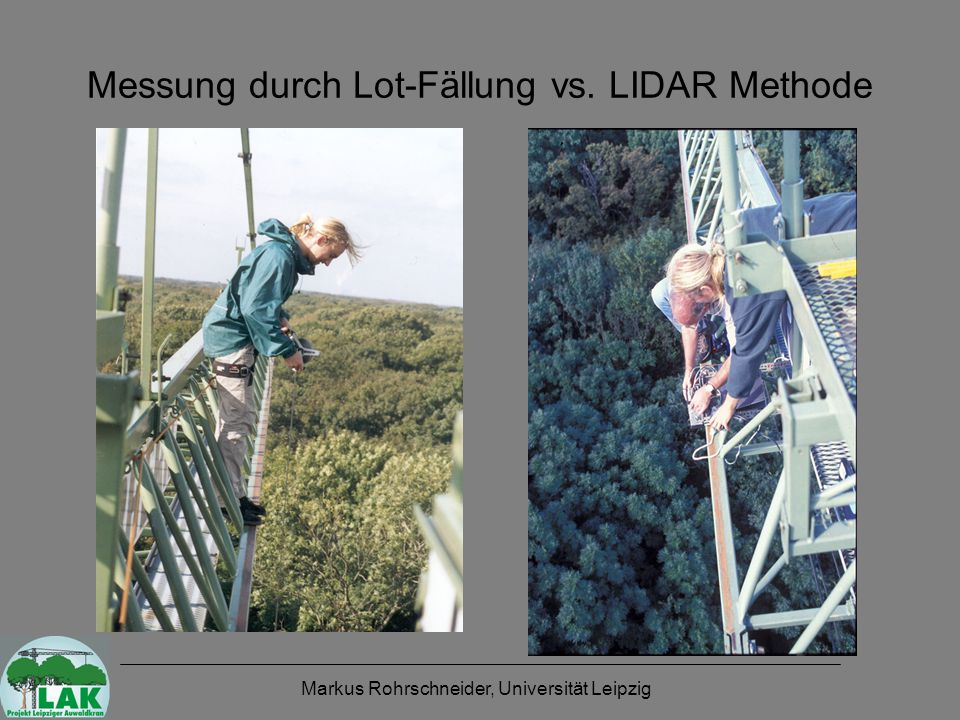 Markus Rohrschneider, Universität Leipzig Messung durch Lot-Fällung vs. LIDAR Methode