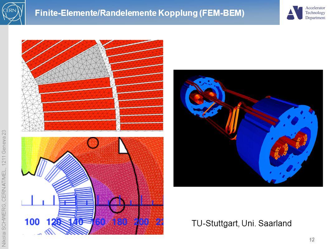 Nikolai SCHWERG, CERN AT/MEL, 1211 Geneva 23 12 Finite-Elemente/Randelemente Kopplung (FEM-BEM) 12 TU-Stuttgart, Uni. Saarland