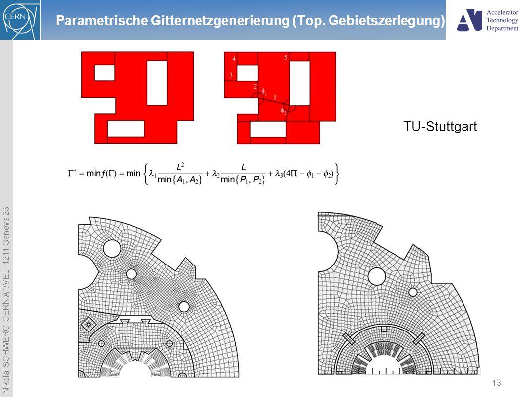 Nikolai SCHWERG, CERN AT/MEL, 1211 Geneva 23 13 Parametrische Gitternetzgenerierung (Top. Gebietszerlegung) TU-Stuttgart