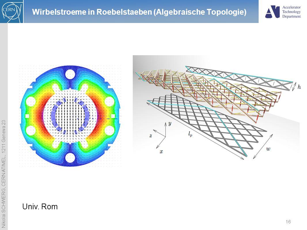 Nikolai SCHWERG, CERN AT/MEL, 1211 Geneva 23 16 Wirbelstroeme in Roebelstaeben (Algebraische Topologie) Univ. Rom