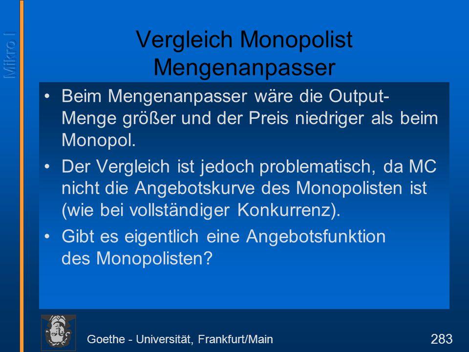 Goethe - Universität, Frankfurt/Main 283 Vergleich Monopolist Mengenanpasser Beim Mengenanpasser wäre die Output- Menge größer und der Preis niedriger