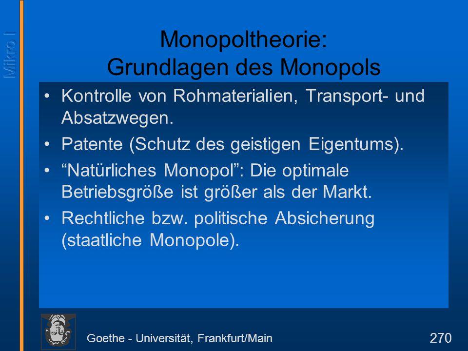 Goethe - Universität, Frankfurt/Main 270 Monopoltheorie: Grundlagen des Monopols Kontrolle von Rohmaterialien, Transport- und Absatzwegen. Patente (Sc
