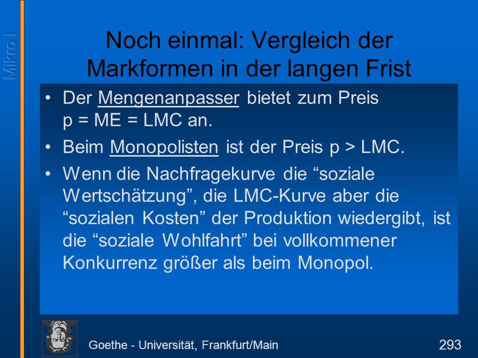 Goethe - Universität, Frankfurt/Main 293 Noch einmal: Vergleich der Markformen in der langen Frist Der Mengenanpasser bietet zum Preis p = ME = LMC an
