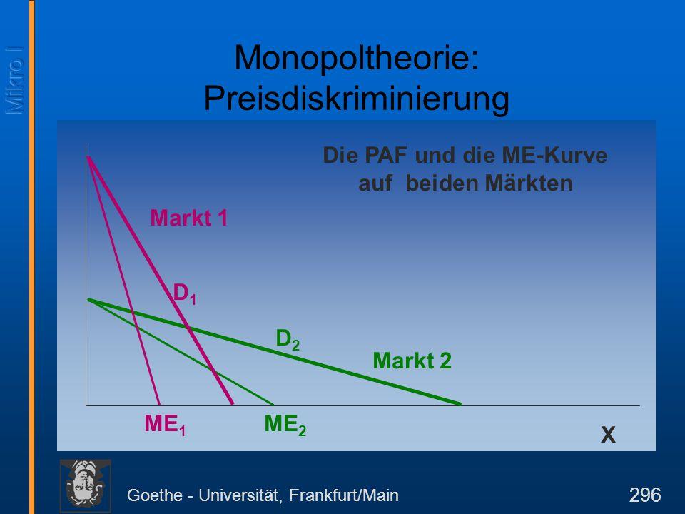 Goethe - Universität, Frankfurt/Main 296 X Die PAF und die ME-Kurve auf beiden Märkten Markt 2 D2D2 ME 2 Markt 1 D1D1 ME 1 Monopoltheorie: Preisdiskri
