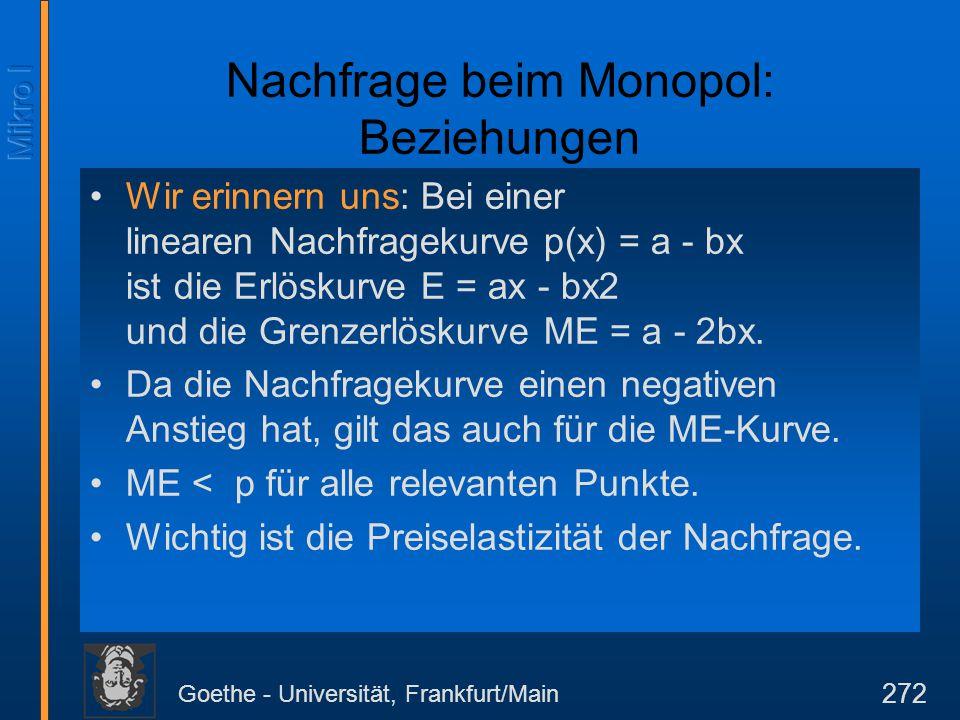Goethe - Universität, Frankfurt/Main 272 Nachfrage beim Monopol: Beziehungen Wir erinnern uns: Bei einer linearen Nachfragekurve p(x) = a - bx ist die