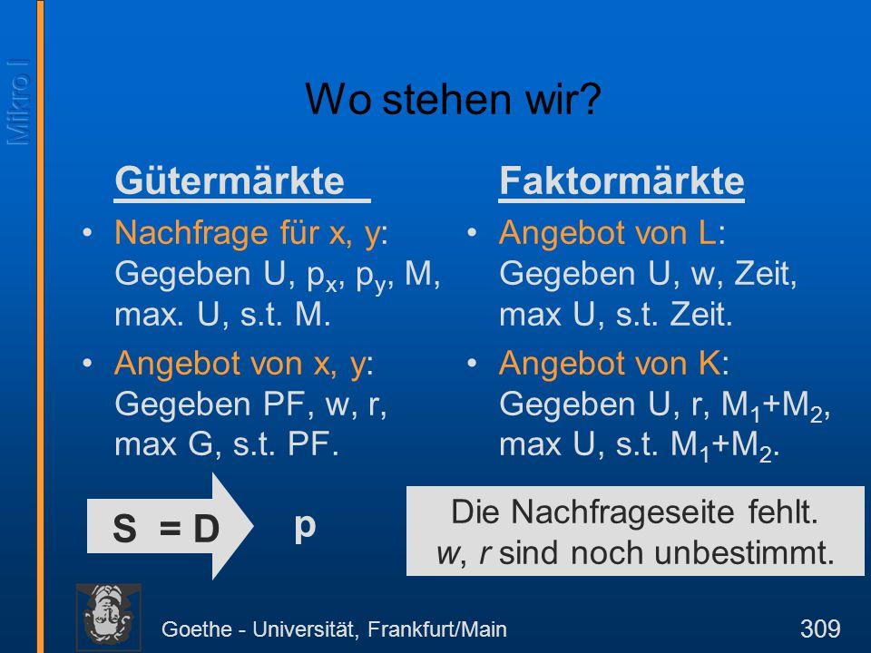 Goethe - Universität, Frankfurt/Main 309 Wo stehen wir? Gütermärkte Nachfrage für x, y: Gegeben U, p x, p y, M, max. U, s.t. M. Angebot von x, y: Gege