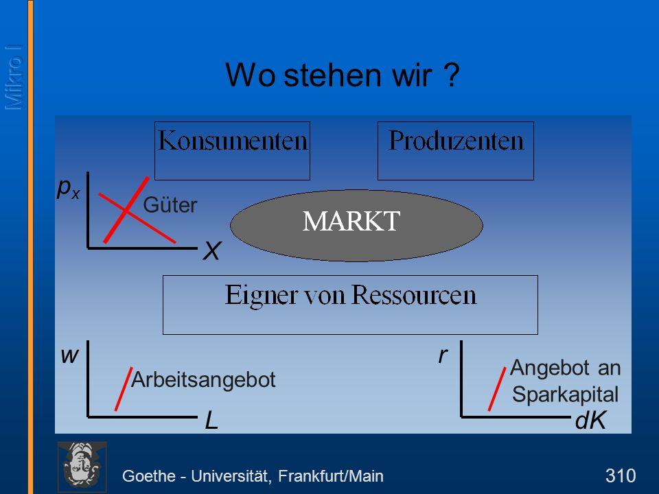 Goethe - Universität, Frankfurt/Main 310 pxpx X w L r dK Arbeitsangebot Angebot an Sparkapital Güter Wo stehen wir ?