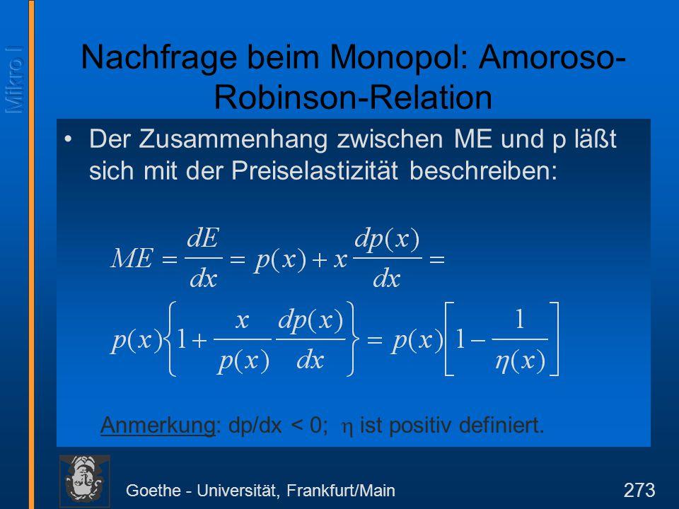 Goethe - Universität, Frankfurt/Main 273 Der Zusammenhang zwischen ME und p läßt sich mit der Preiselastizität beschreiben: Anmerkung: dp/dx < 0; 